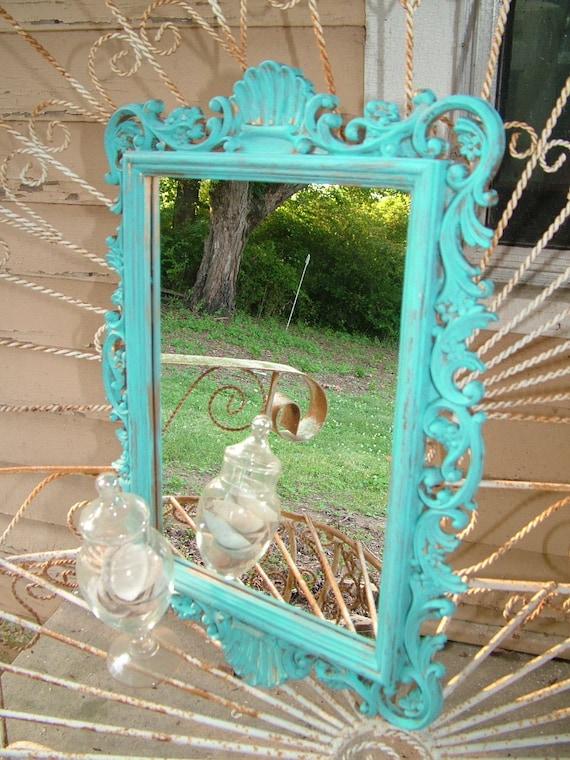 Choose Color or  Aqua Seashell UpCycled Wall Mirror  20 1/2 x 14 1/2