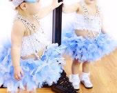 Blue White Tutu Skirt, Tiffany Blue Vintage Tutu, Toddler Tutu Skirt, Newborn to 2 Toddler