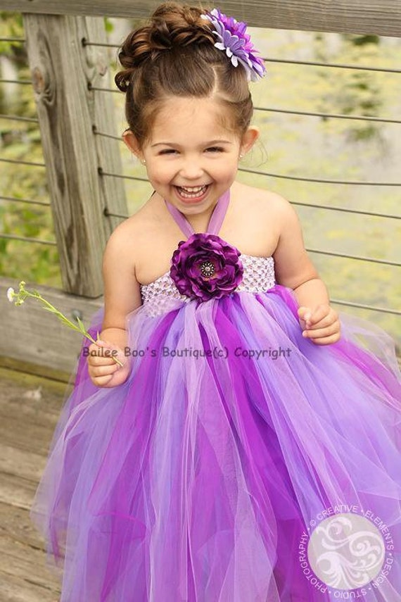Items Similar To Purple Flower Girl Tutu Dress Tutu Dress