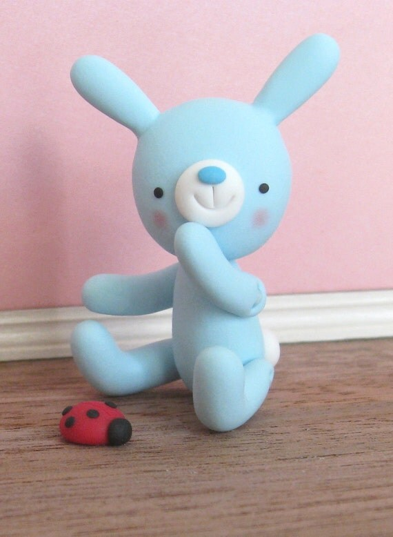 Light Blue polymer clay bunny