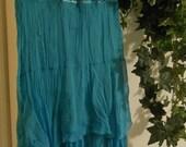 SALE Océane sea goddess mermaid  jean skirt  teal silk turquoise ruffled tattered faerie aqua blue layered flutter Renaissance Denim Couture