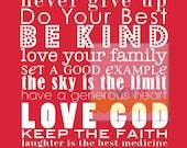 11x14 DREAM BIG House Rules Subway Art Poster Print . Be Kind Faith Love God . Baby Kid Children Nursery // Red Yellow Blue Pink Black
