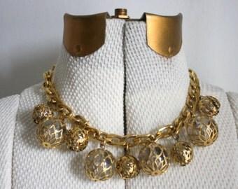 Vintage Glass Globe Necklace, Gold Glass Bead Choker