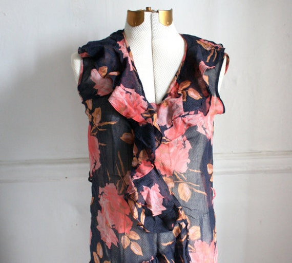 Vintage Sheer Ruffle Floral Print Dress, Black and Red Flower Maxi Dress