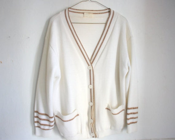 SALE Vintage 90s Gold Striped Cardigan / Oversize White Sweater / Metallic Stripes