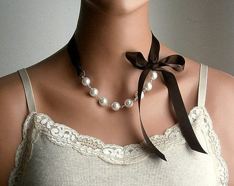 Pearl And Ribbon Necklace With Swarovski Crystal White Pearls And Chocolate Satin Ribbon