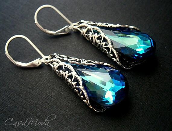Crystal Earrings Something Blue Swarovski Crystal Bermuda Blue Teardrops With Silver Filigree Cone Wrap
