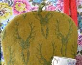 Knitted Stag Tea Cosy- Deer Head Tea Cosy- Green- Antlers- Knitted Tea Pot Cosy- Tea Pot Warmer- Lambswool Tea Cosy- Knitted Wool Tea Warmer