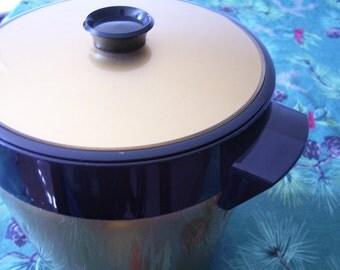 Vintage Thermos Ice Bucket - Gold and Black Metallic Ice Bucket  -  12-240