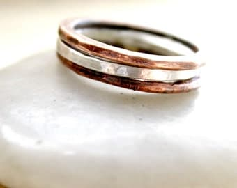 Mixed Media Copper and Sterling Silver Stacking Rings, two tone earthy rings, copper rings, midi rings,