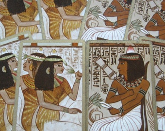 6 Egyptian Vintage Playing Cards, 3 Female, 3 Male