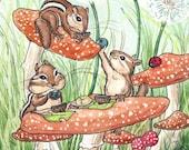 Teatime for Chipmunks - 8 x 10 inch print