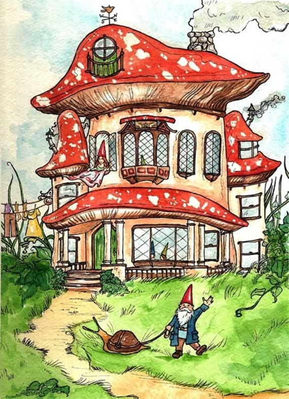 image drawing illustration art toadstool gnome home red white snail