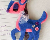 Deer Felt Magnet  - Blue, Hot Pink and Gray Hat with Rhinestones