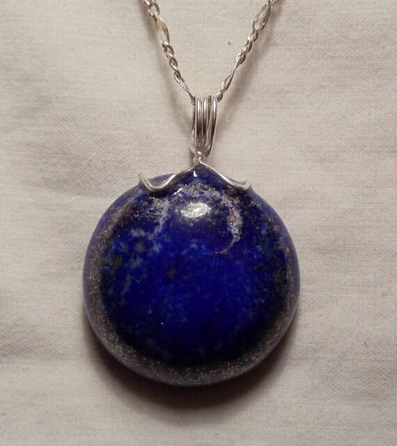 Afghan Lapis Lazuli Pendant in Sterling