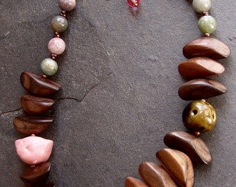 Look Among The Branches - Earthenware Bird, Kazuri, Fluorite and Wood Petals Necklace