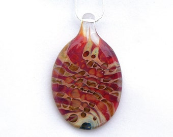 Jubilant Glass Lampwork Pendant     Borosilcate on Sterling Silver    Free Shipping