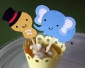 Circus Peanut Elephant Cupcake Toppers / Cake Toppers / Mini Cupcake Toppers / Centerpieces