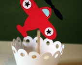 Baby Toy Airplane Cupcake Toppers / Cake Topper