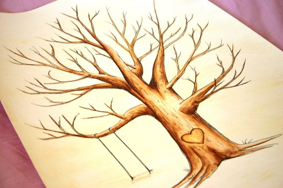 Wedding Guest Book Tree. Original thumb print Water Color Illustration- Custumize