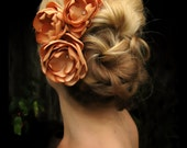 Dalila bridal hair accessories,  light golden orange satin flowers with rhinestone centers, bridal hair accessories, bridal hair flowers