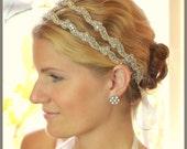 Camellia Double Rhinestone bridal headband, bridal hair accessories, crystal headband, wedding headband