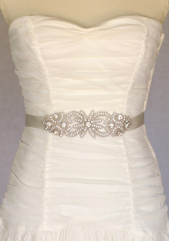 Bella bridal sash bridal belt wedding dress by amienoeldesigns for Rhinestone sashes for wedding dresses