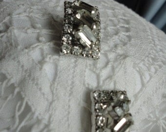Rectangle Clear Rhinestone Clip On Earrings Vintage Continental