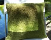 Crochet Throw Pillow Boucle Green, Decorative Pillow, 16 x 16