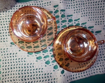 1950s Pair of Moderne Marigold Carnival Cups Mugs and Saucers Jeannette Glass Co