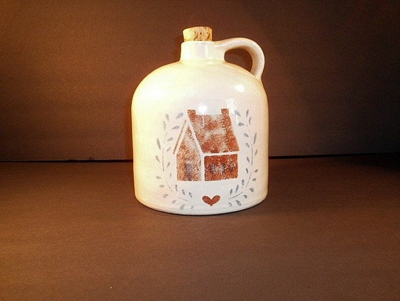 Vintage Pottery Jug, Country Themed Jug, Red House Red Heart, Home Decor, Country Home Decor