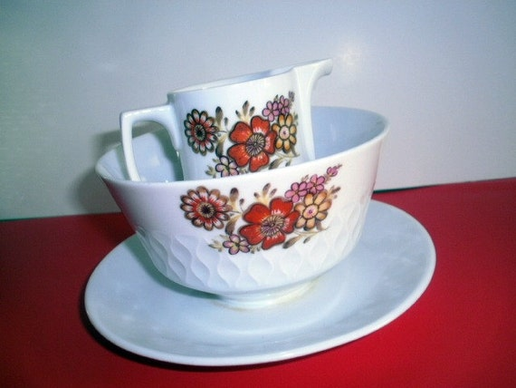 Fall Floral Bavarian Textured Creamer and Sugar Bowl Schirnding Germany