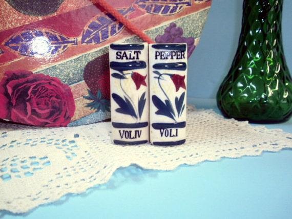 Vintage Salt & Pepper Shakers, Little Book Volumes, Porcelain Tableware, Serving Ware, Dinner Table