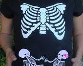 TWINS or TRIPLETS Skeleton Maternity Xray shirt  - Halloween, Couples costume, Dia De Los Muertos