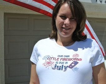 Patriotic 4th fourth of July fireworks customized maternity shirt - great pregnancy announcement idea