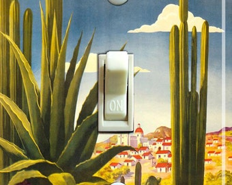 MEXICO CACTUS Vintage Travel Poster Switch Plate (single, double)  ***FREE Shipping***