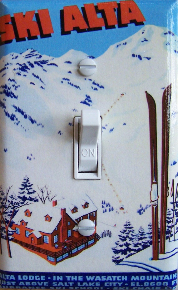 Ski Alta Vintage Ski Poster Switch Plate By