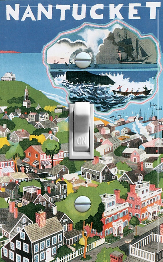 NANTUCKET vintage poster Switch Plate (single)  - - FREE SHIPPING - -