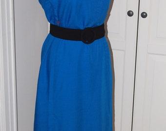 50s, 60s Dress, Royal Blue, Architectural Lines, Linen, Size M/L