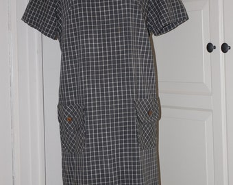 60s Dress, Shift, Gray and White, Checks, Cotton, Metal Zipper, Size L,