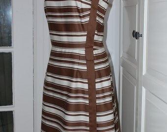 50s 60s Dress, Pat Premo, Fit & Flare, Stripes, Chocolate and White, Sleeveless, Size M/L
