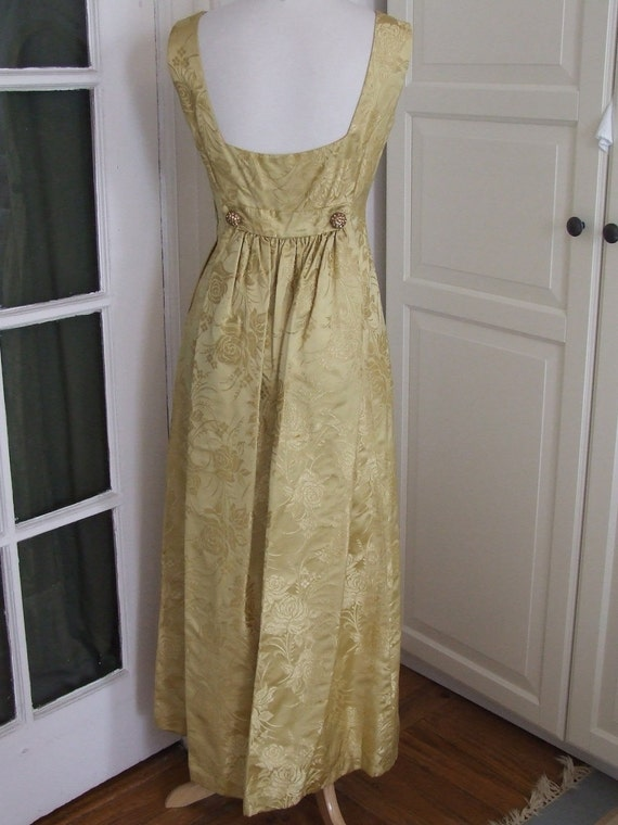 50s 60s Dress, Brocade, Gold on Gold, Train, Evening, Prom, Wedding, Size S/M