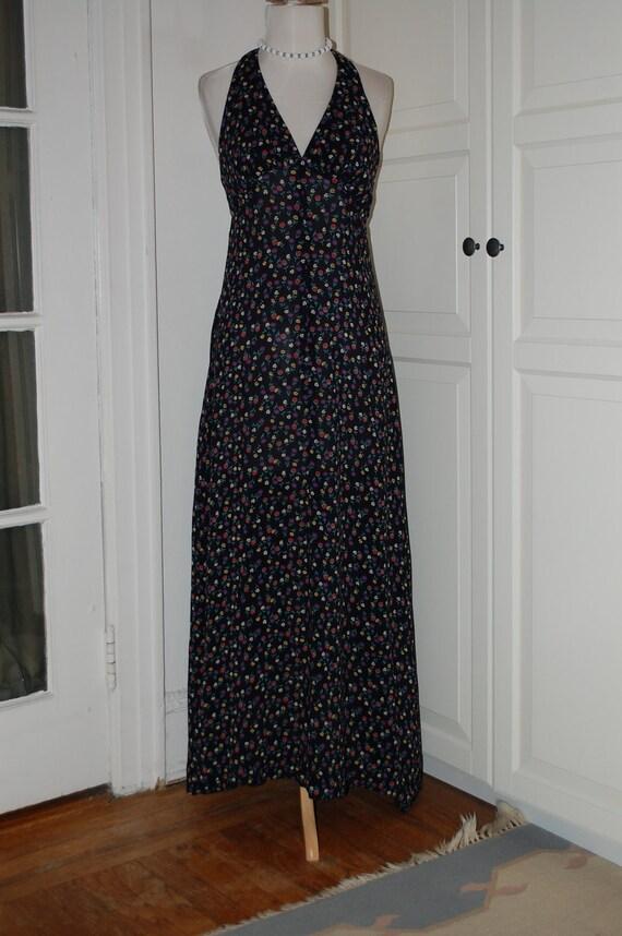 60s 70s Maxi Dress, Halter Dress, Flowers on Black, Hippie, Boho - S/M