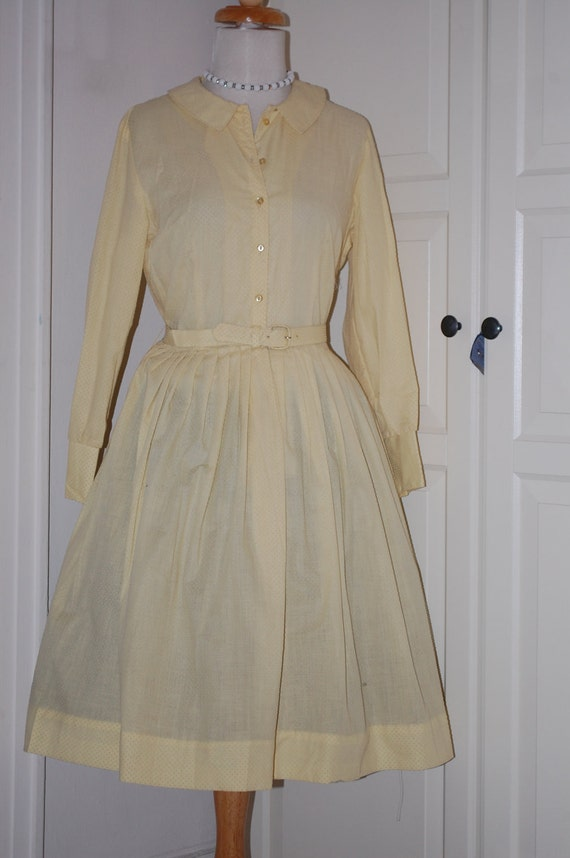 Vintage 50s Dress, Yellow, Full Skirt, Button Front, Dotted Swiss, Size Medium