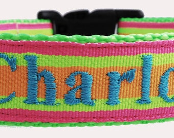 Personalized Monogrammed Bright Stripes Dog Collar