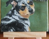 """Custom Pet Portrait mini oil painting on canvas with mini easel 3"""" x 3"""" Beautiful gift idea for the animal lover"""