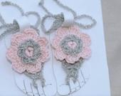 Newborn Flower Toe Baby Girl Sandal Pink and Silver Girl 0-9m