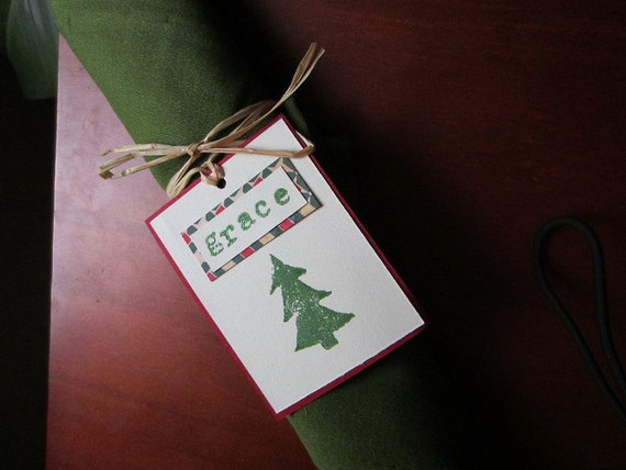Little Holiday Tree Name Card Place Setting & Napkin Ring Ornament Gift Tag