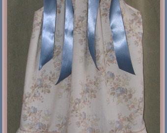 Girl's pillowcase dress, , sz 3 dress, size 4 dress, size 5 dress, Easter Dress, toddler dress, blue cream floral ruffled vintage pillowcase