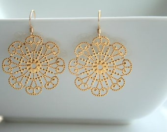 Round Gold Filigree Earrings - FAYE